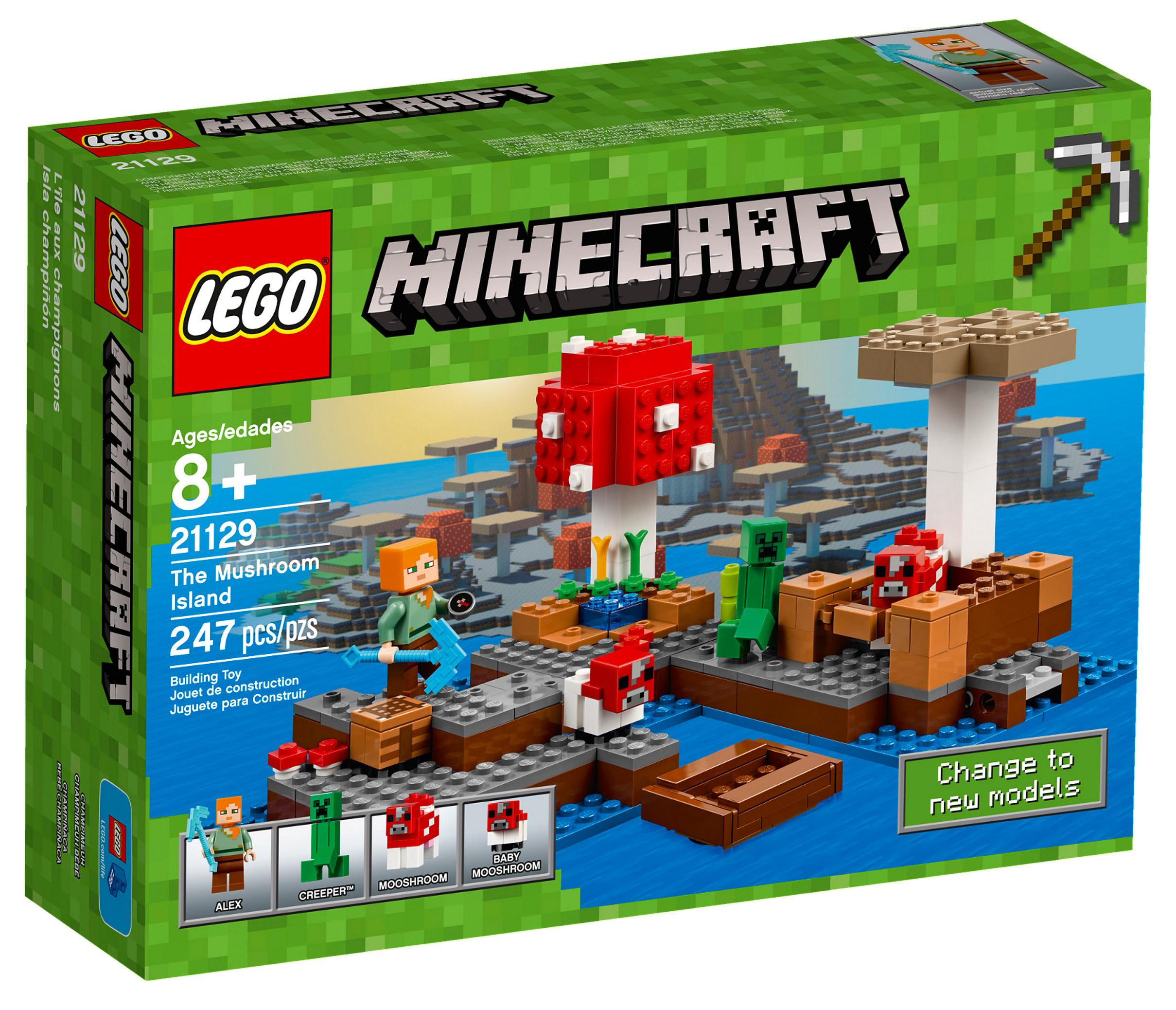 lego minecraft 21129 pas cher le biome champignon. Black Bedroom Furniture Sets. Home Design Ideas