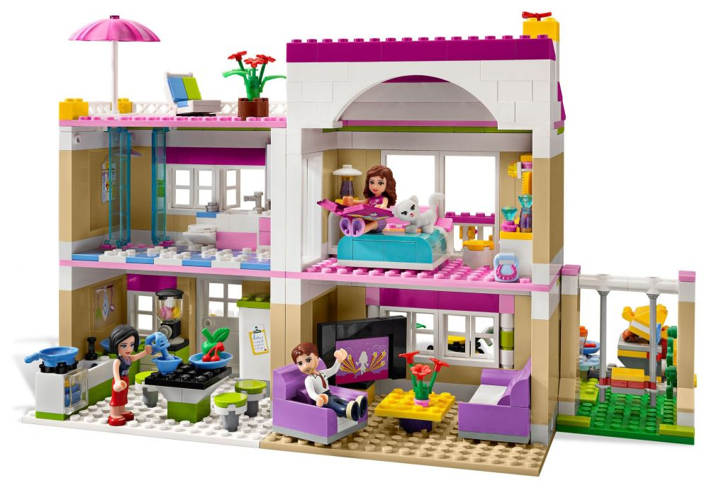 Lego friends 3315 pas cher la villa for Olivia s garden pool instructions