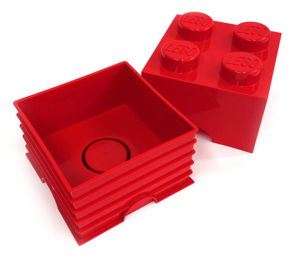 Lego rangement 40030130 pas cher brique de rangement rouge 4 plots - Brique de rangement lego ...