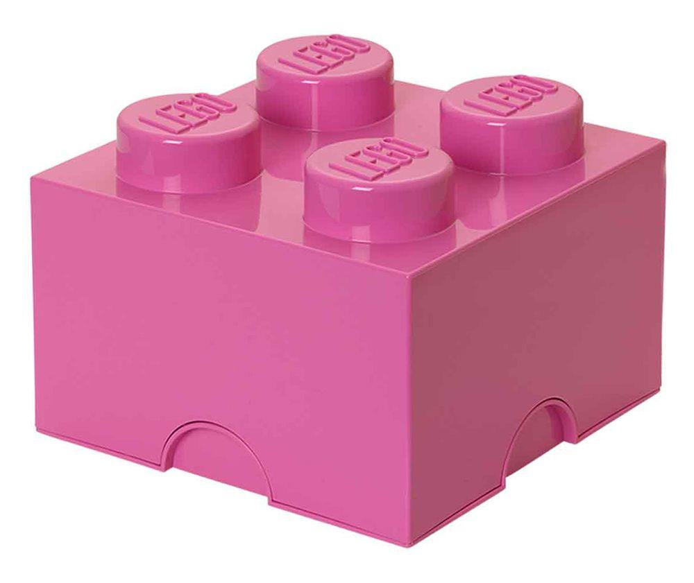 Lego rangement 40031739 pas cher brique de rangement rose 4 plots - Brique rangement lego ...