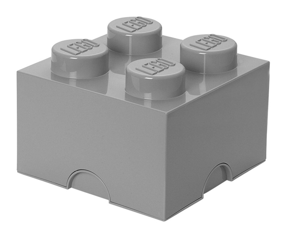 Lego rangement 40031740 pas cher brique de rangement grise 4 plots - Brique rangement lego ...