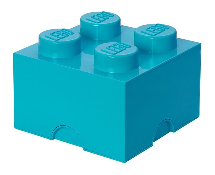 Lego rangement 40031743 pas cher brique de rangement azur 4 plots - Brique de rangement lego ...