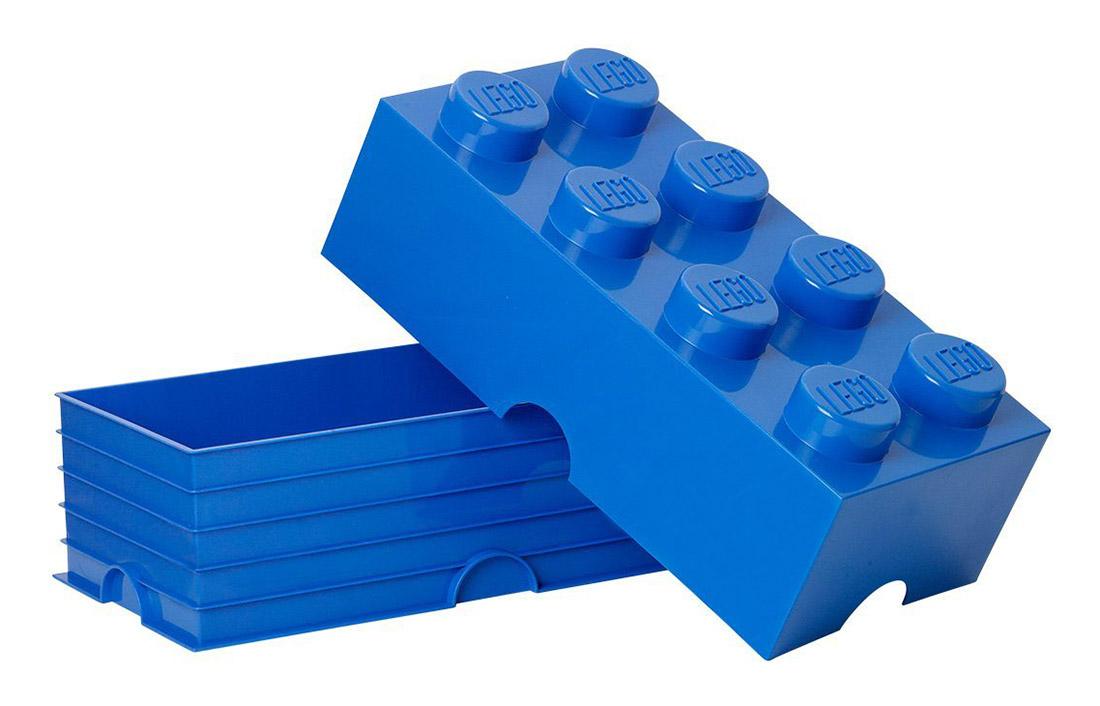 Lego rangement 40041731 pas cher brique de rangement bleue 8 plots - Brique rangement lego ...