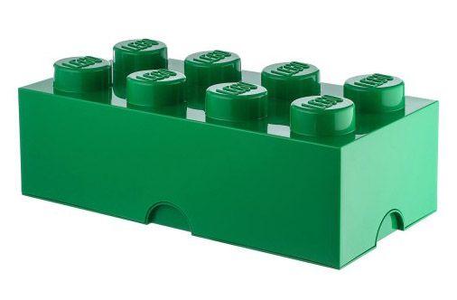 Lego rangement 40041734 pas cher brique de rangement verte 8 plots - Brique de rangement lego ...