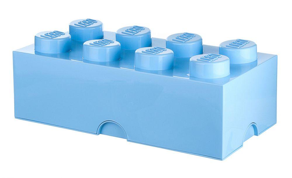 Lego rangement 40041736 pas cher brique de rangement bleue claire 8 plots - Brique rangement lego ...