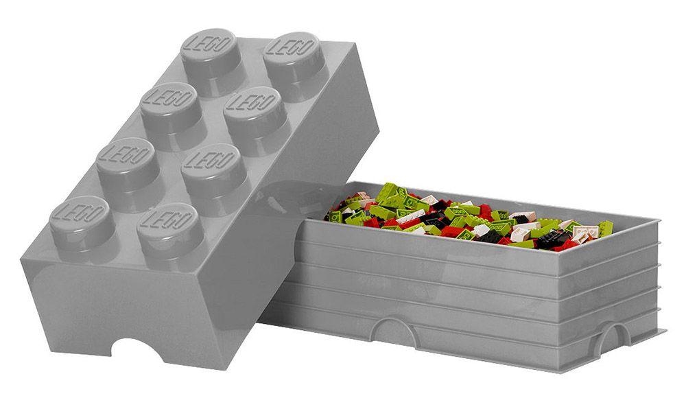 Lego rangement 40041740 pas cher brique de rangement grise 8 plots - Brique rangement lego ...