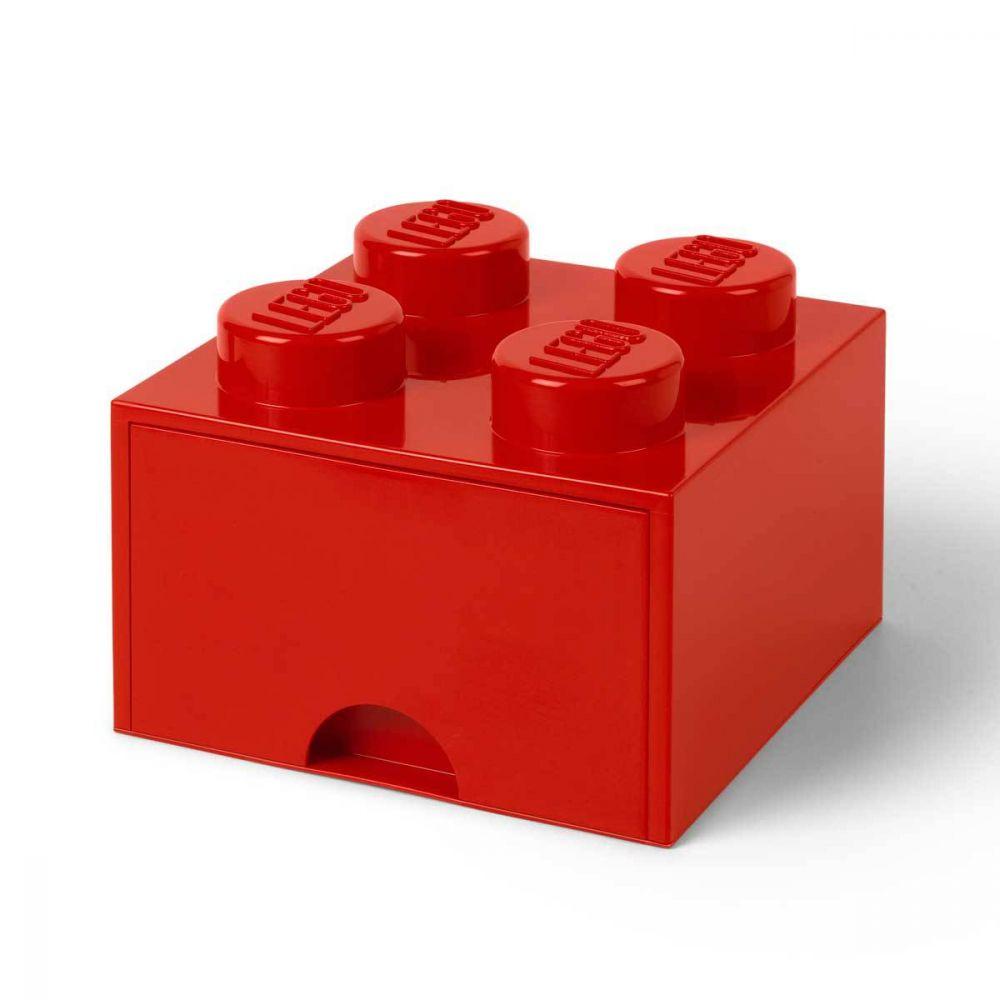 tout neuf f8935 5ac9f Brique de Rangement empilable avec tiroir 4 plots LEGO rouge