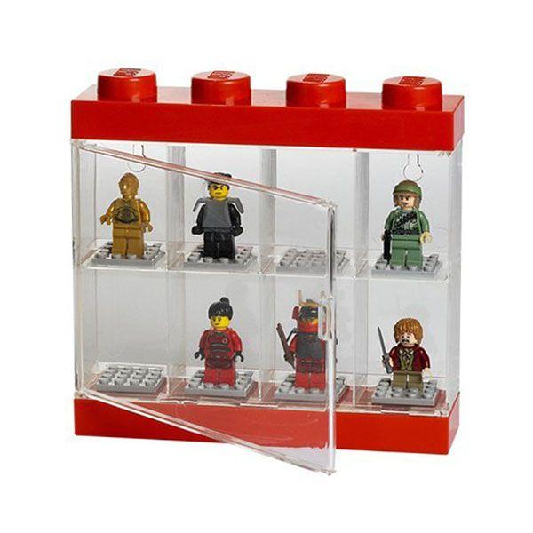 lego rangement 40650001 pas cher vitrine pour 8 figurines rouge et transparent. Black Bedroom Furniture Sets. Home Design Ideas