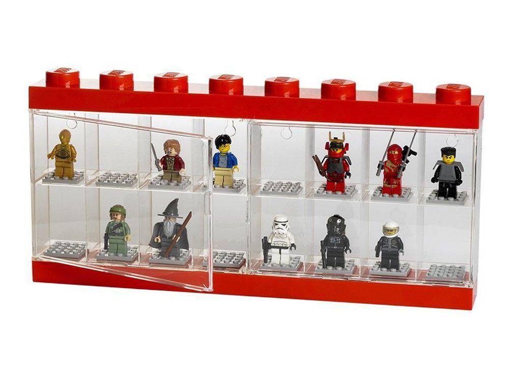 lego rangement 40660001 pas cher vitrine pour 16 figurines rouge et transparent. Black Bedroom Furniture Sets. Home Design Ideas