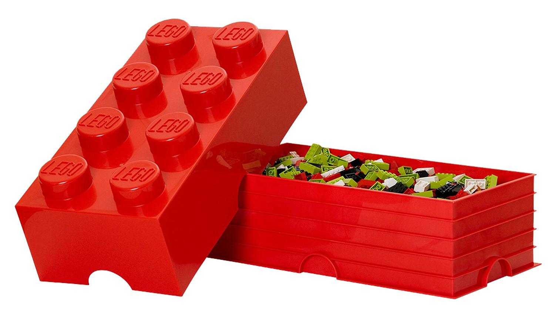 Lego rangement 5000463 pas cher brique de rangement rouge 8 plots - Brique rangement lego ...