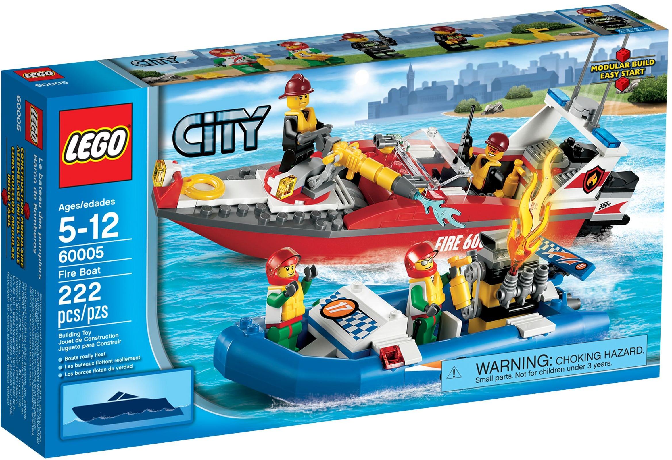lego city 60005 pas cher le bateau des pompiers - Lego City Bateau