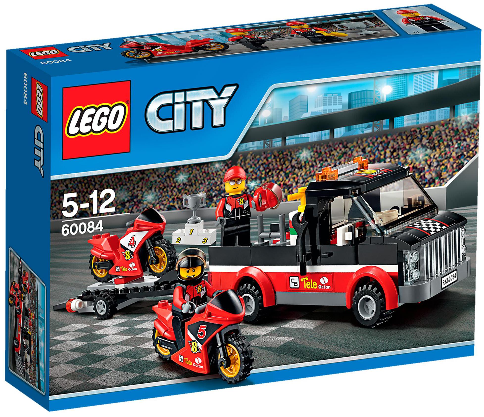 lego city 60084 pas cher le transporteur de motos de course. Black Bedroom Furniture Sets. Home Design Ideas