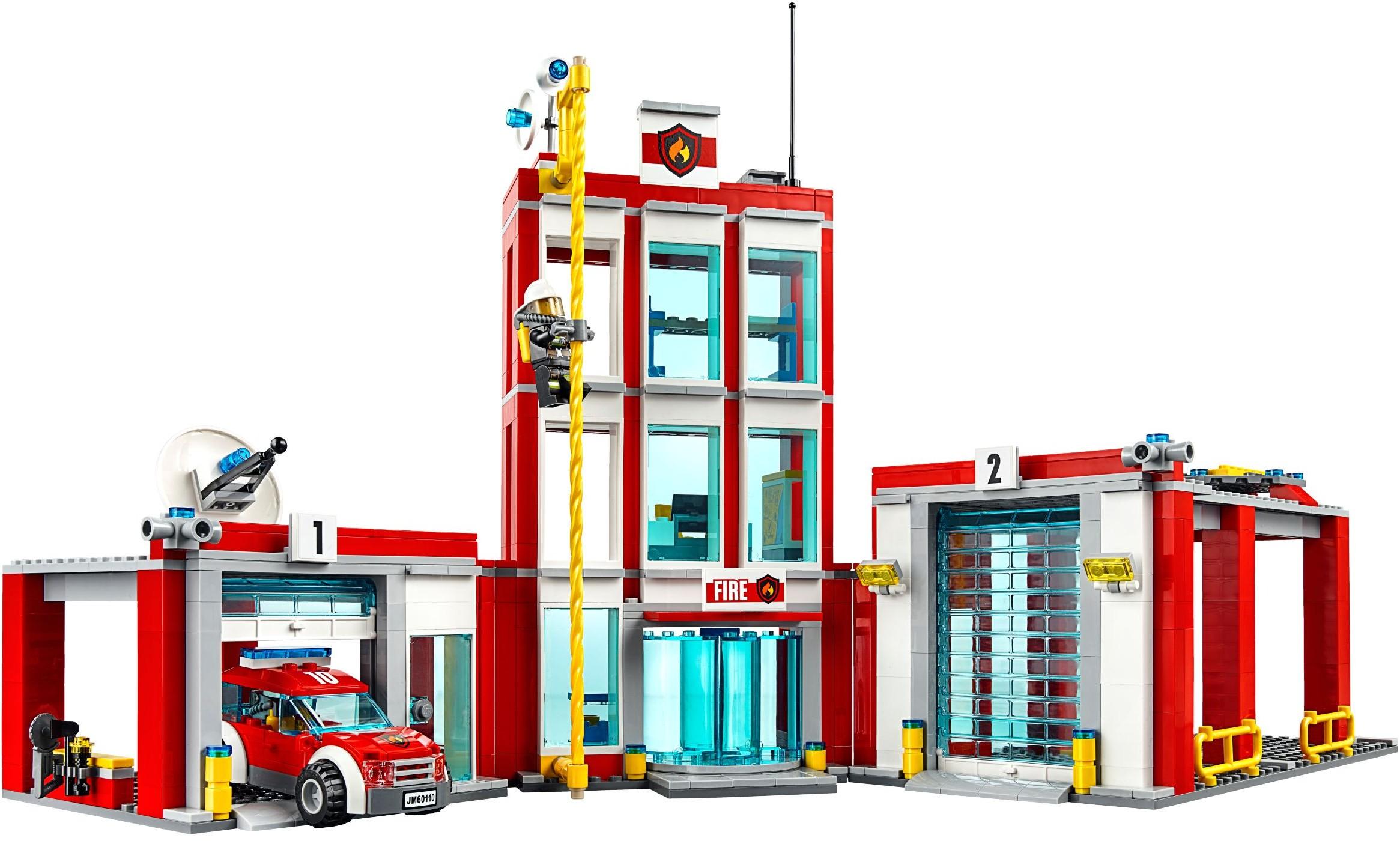 Lego city 60110 pas cher la caserne des pompiers - Caserne pompier playmobil pas cher ...