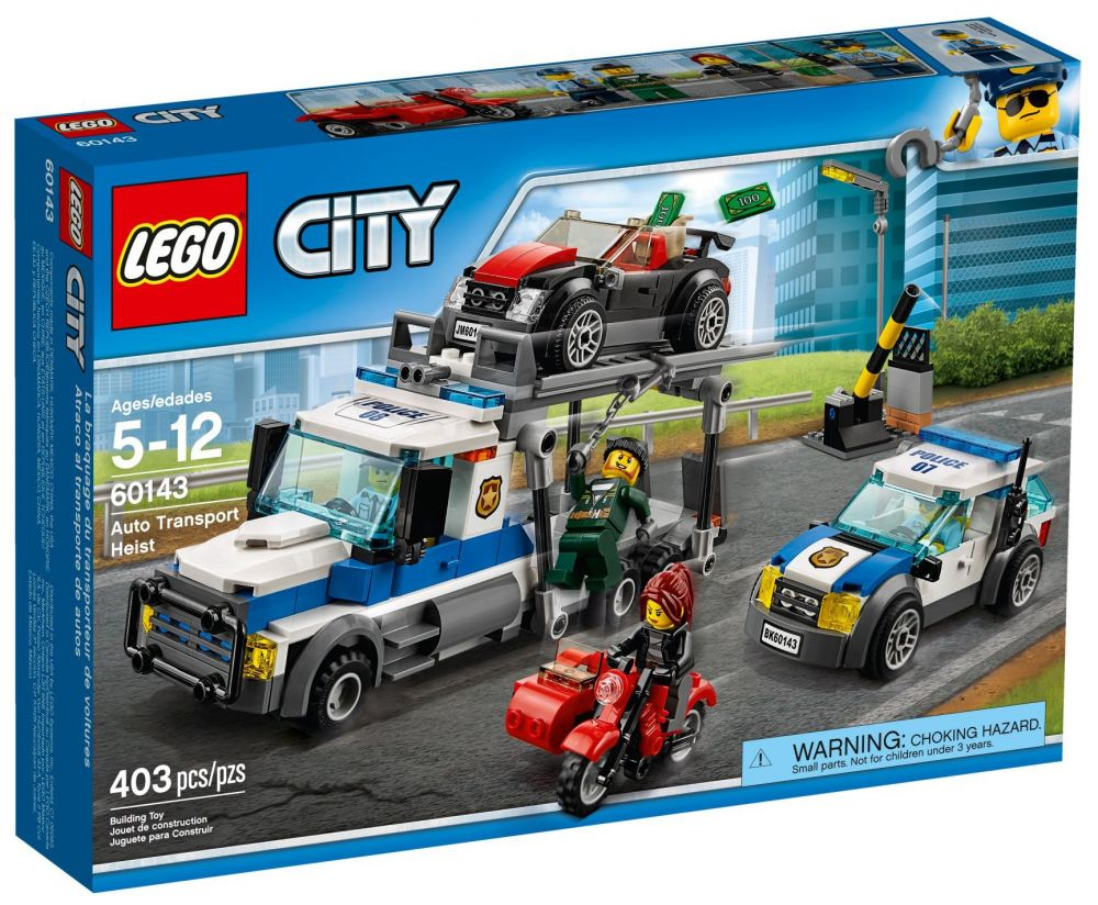lego city 60143 pas cher le braquage du transporteur de voitures. Black Bedroom Furniture Sets. Home Design Ideas