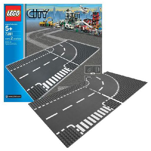 lego city 7281 pas cher plaques de route intersection. Black Bedroom Furniture Sets. Home Design Ideas