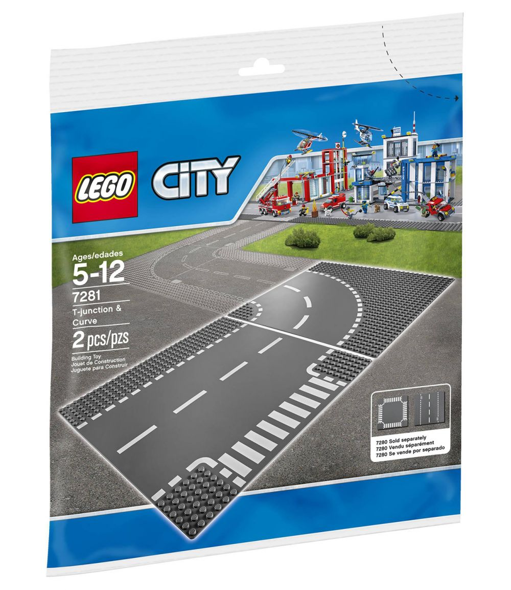lego city 7281 pas cher plaques de route intersection et virage. Black Bedroom Furniture Sets. Home Design Ideas
