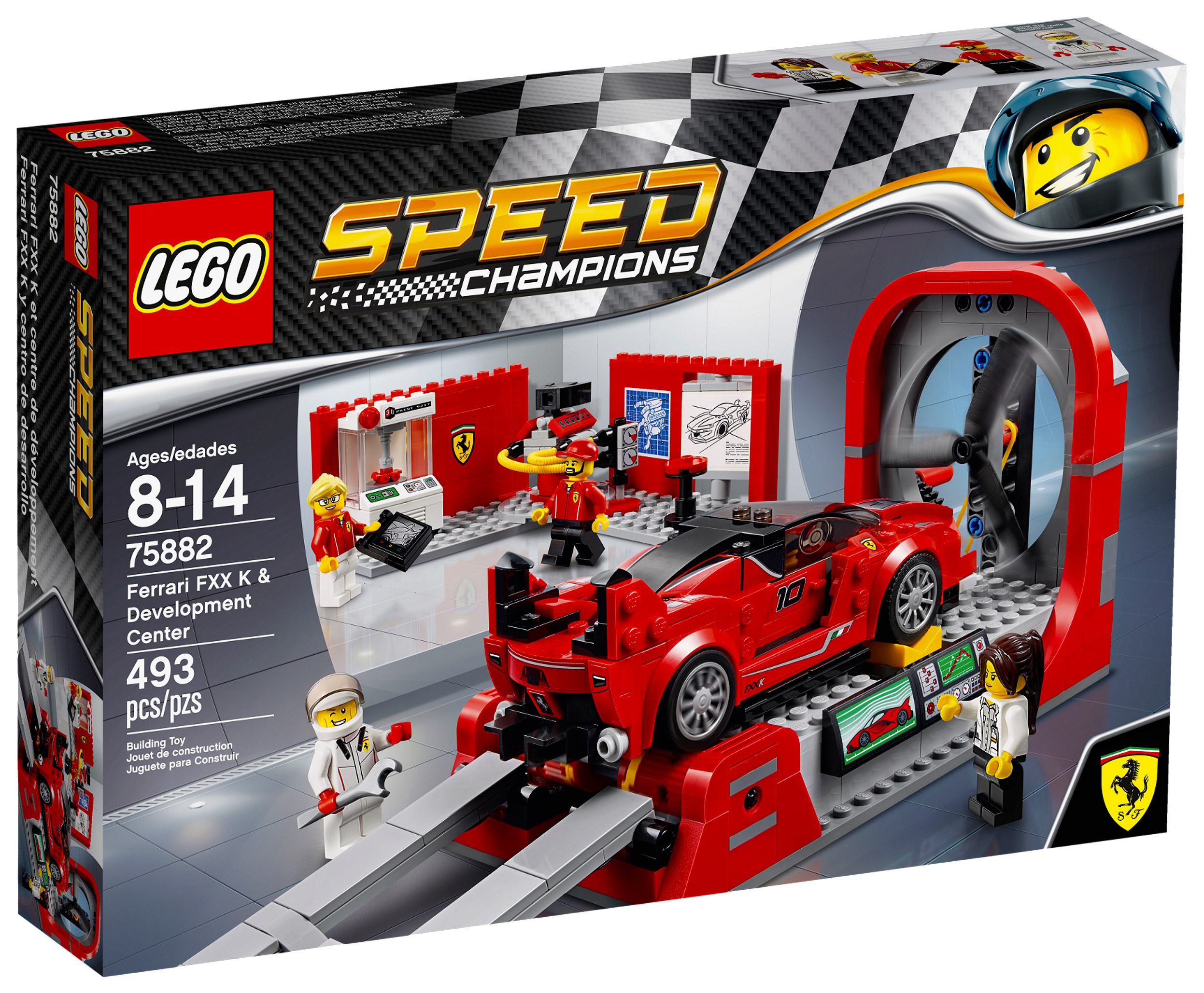 lego speed champions 75882 pas cher le centre de d veloppement de la ferrari fxx k. Black Bedroom Furniture Sets. Home Design Ideas