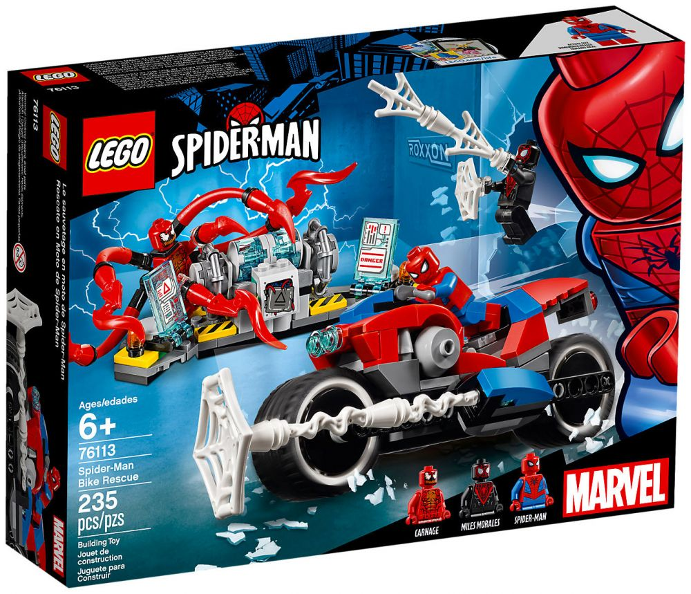 Lego marvel super heroes 76113 pas cher le sauvetage en - Spider man moto ...