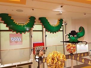 Le dragon vert Brickley au LEGO Store de Londres
